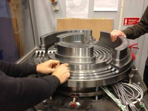 Assembly of a prototype LEV -bearing for hydropower.